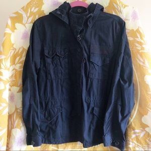J. Crew Navy Hooded Weathered Chino Field Jacket